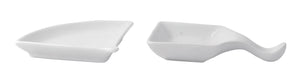 Mini White Fan Shaped Dish - 3.9 x 3.1 x 0.6""