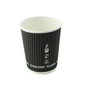 "Compostable Rippled Black Cups - 4 oz Dia: 2.4"" H: 2.4"""