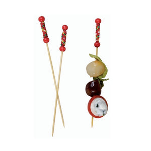 FUJI - Bamboo Pick with Natural Beads and Red Design