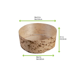 ANNO - Round Mini Bamboo Leaf Basket Size 1 - 2.2""