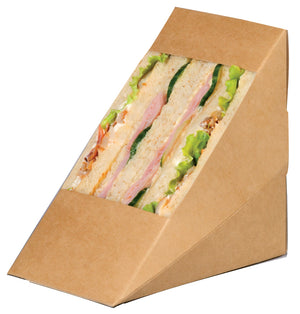 Kraft Triple Sandwich Wedge Box with Window  4.8 x 3.2 x 4.8""