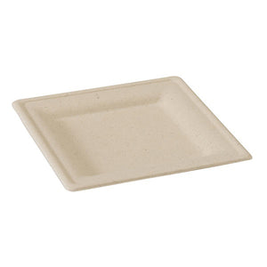 Brown Sugarcane Square Plate, 200mm/7.8""