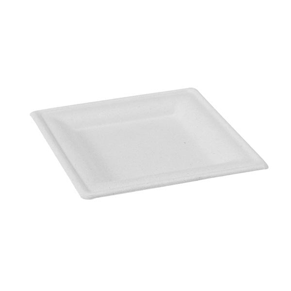 White Sugarcane Square Plate 160mm/6.3""
