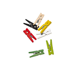 Assorted Colours Mini Wooden Clothespin