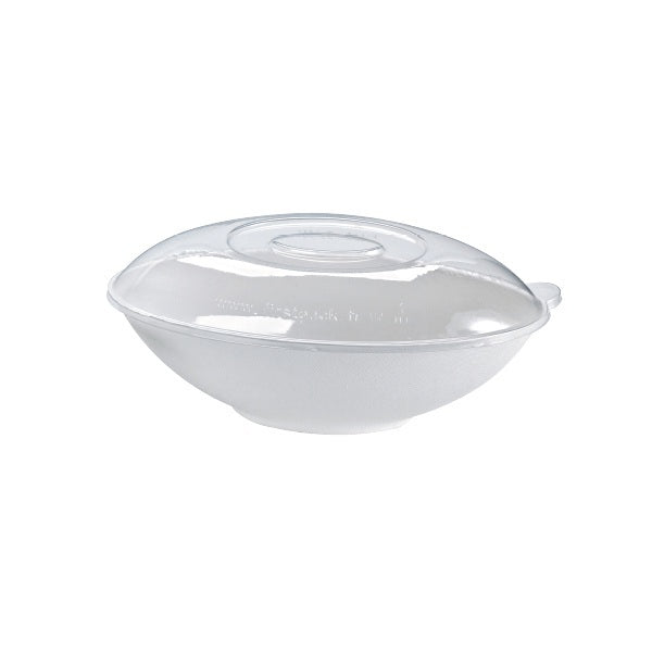 Clear Recyclable Lid for Sugarcane Oval Serving Bowl
