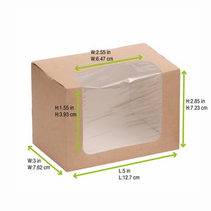 Brown Wrap box with PLA window - L: 4.9in W: 3in H: 2.8in