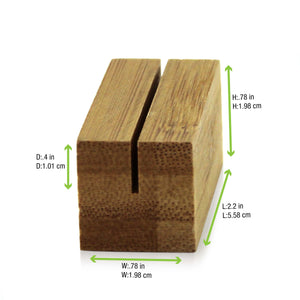 Bamboo Square Card Holder 2.2 x 0.8 x 0.8