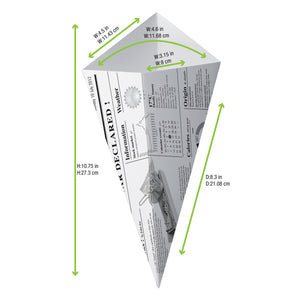 Sturdy Paper Cones with Newsprinted Print 430ml