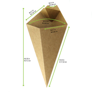 Kraft Paper Cones with Built in Dipping Sauce Compartment