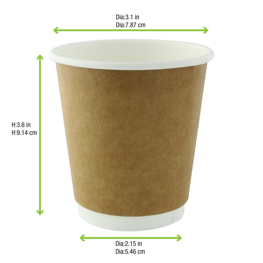 Compostable Paper Cups - Kraft Double Wall 8oz