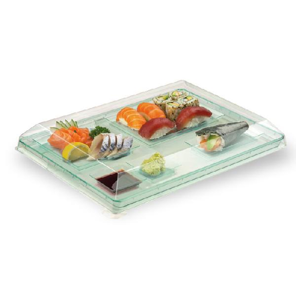 Clear Recyclable Lid For KLARITY Transparent Green Tray
