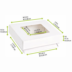 White Kray Box with Window Lid - 155mm/6""