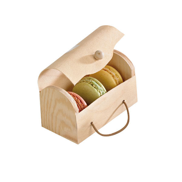 Rectangular Wood Box for 3 Macarons with Latch