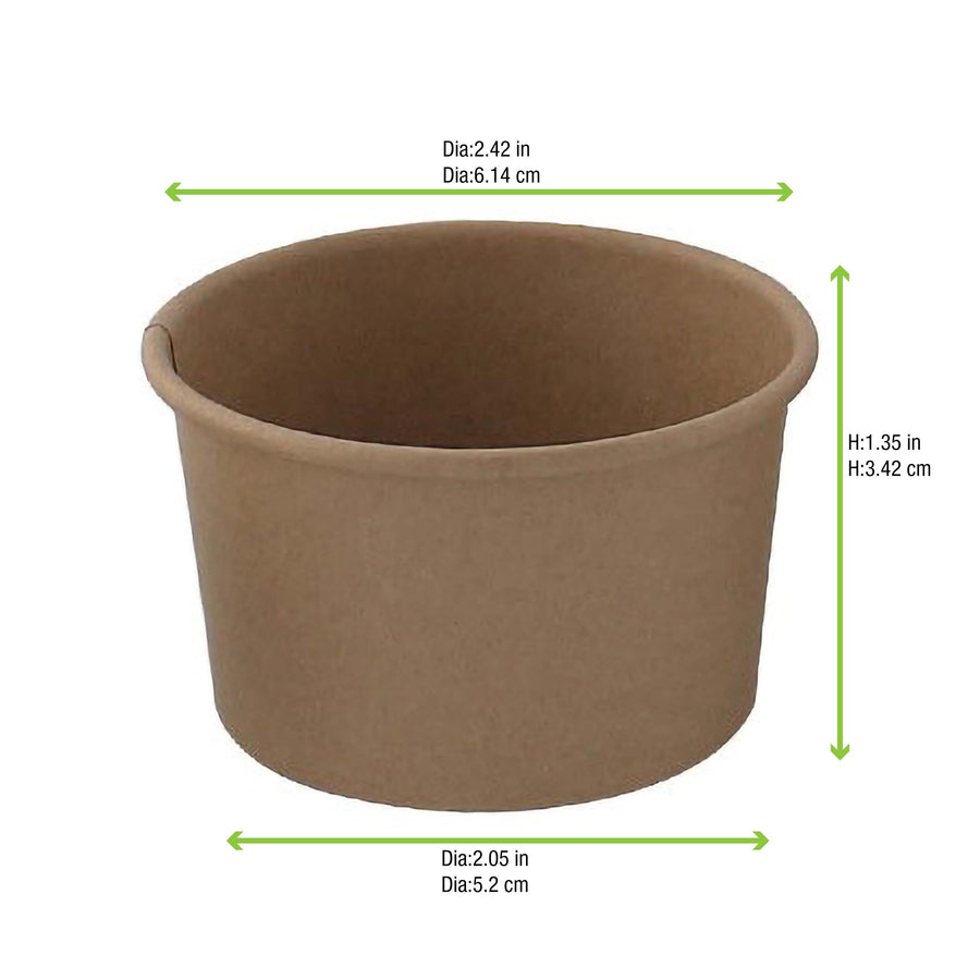 Brown Kraft Hot & Cold Paper Cup - 2.3oz