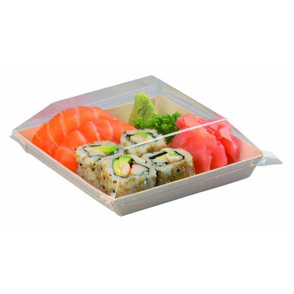 Clear Recyclable Lid for SAMURAI Wooden Square Dish