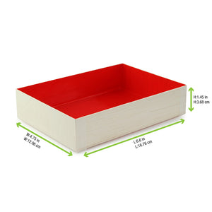 Wooden Folding Box with Red Shiny Interior