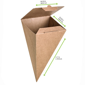 "Closeable Kraft Snack Cone - Top: 3.5x3.5"" H:7.5"""