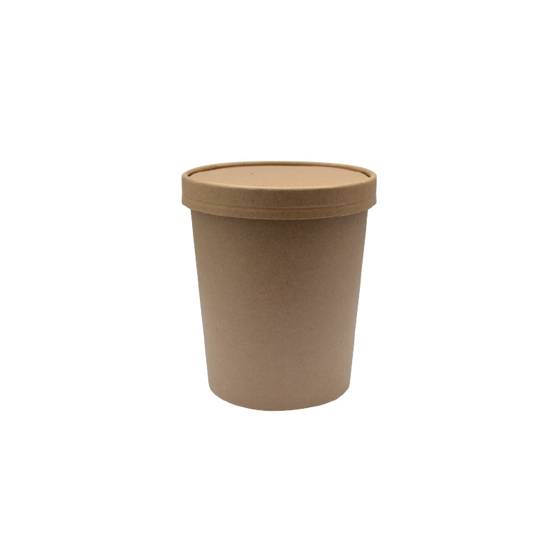 Brown Kraft Soup Cup with Kraft Paper Vented Lid - 710ml