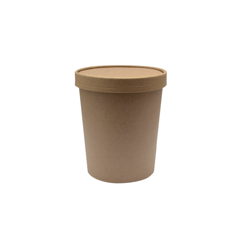 Brown Kraft Soup Cup with Kraft Paper Vented Lid -  950ml