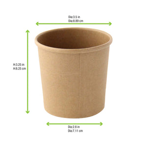 "Brown Kraft Soup Cup (Lid Optional) - 12 oz Dia: 3.5"" H: 3.4"","