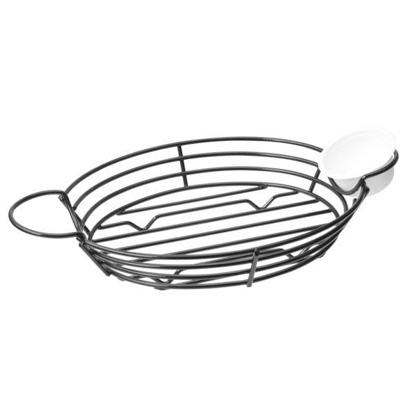 Oval Basket With Integrated Ramekin Holders