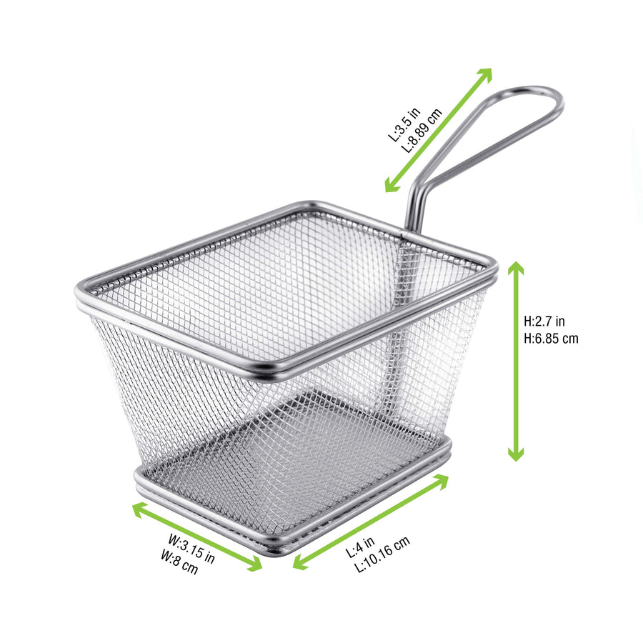 Mini Metal Fryer Basket - 4 x 3.6 x 2.5""