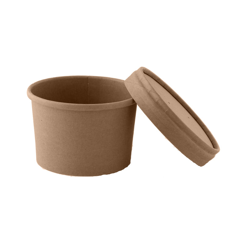 Brown Kraft Soup Cup with Kraft Paper Vented Lid -  8oz
