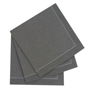 Luxury Silver Gray Cotton Cocktail Napkin (Reusable)