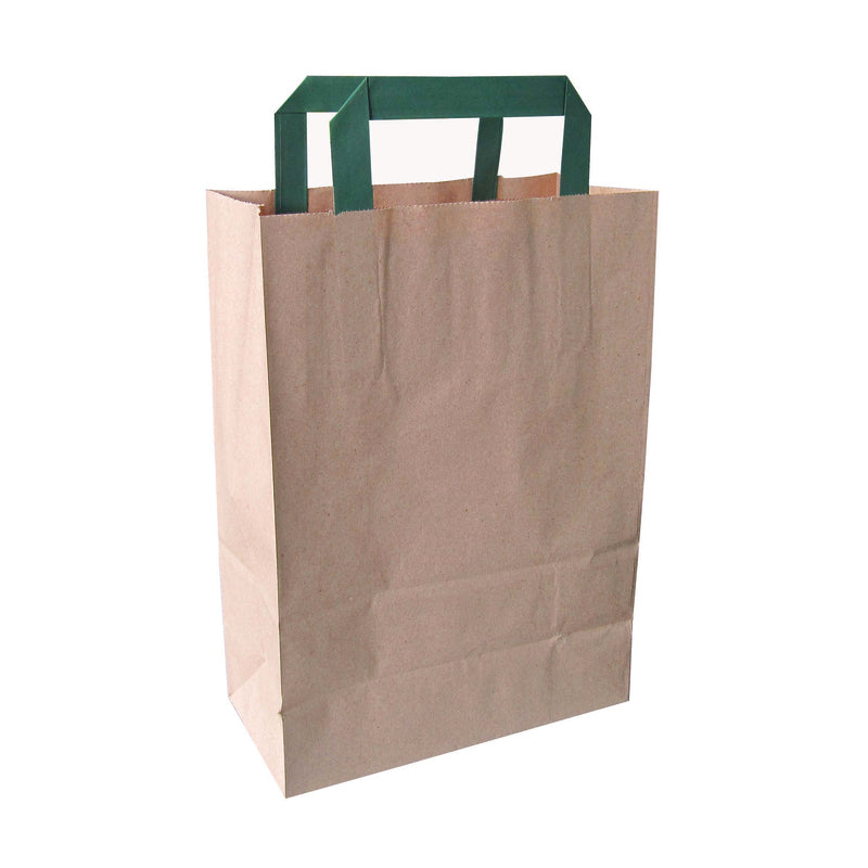 "Kraft/Brown Recycled Paper Carrier Bag With Green Handles - H: 11"" W: 4"" L: 7.9"""