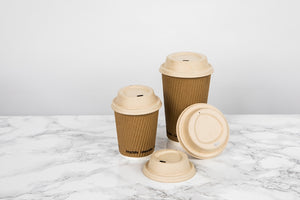 "Compostable Rippled Beige Cups - 8 oz Dia: 3.1"" H: 3.6"""