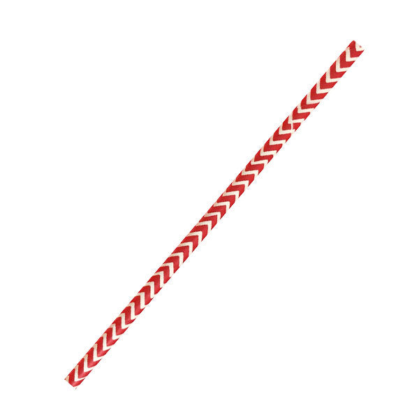 Chevron Red & White Paper Straws Coated with Bees Wax -Unwrapped 7.75""