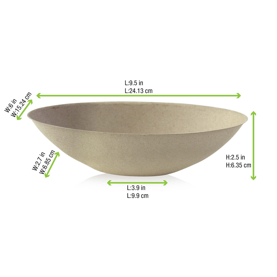 Bio n Chic Brown Oval Sugarcane Bowl - 32oz