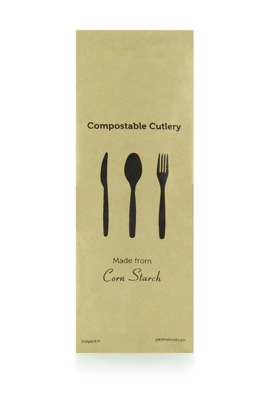 "Compostable & Heat Proof Corn 6"" Black Cutlery Kit"