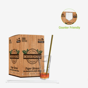 "Kraft Paper Straw Individually Wrapped for smoothies - Dia: 0.3"" L: 7.75"" - 3000pcs"