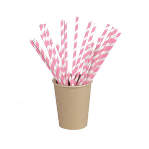 Pink Striped Paper Straws Coated with Bees Wax - Unwrapped  7.75""