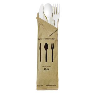"Compostable & Heat Proof Corn 6"" White Cutlery Kit"