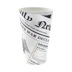 "Happy Fries Newsprint Closable Perforated Snack Cup - 16 oz Dia: 2.36"" H"" 6.3"""