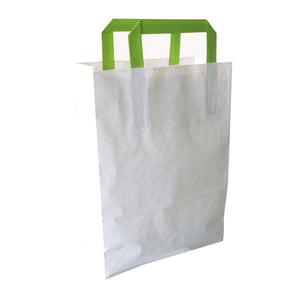 "White Recyclable Paper Bag With Green Handles - 11"" x 4"" x 7.9"""