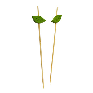 "Bamboo skewers with wooden leaf - 4.7"" - 1000pcs"