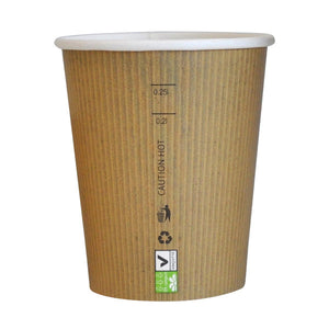 "Compostable Paper Cup Single Wall - 8 oz Dia: 3.1"" / H 3.6"""