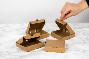 Mini Kraft Cardboard Pizza Box - 3.5 x 3.5 x 0.8""