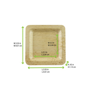 Square Bamboo Leaf Plate, 90mm/3.5""