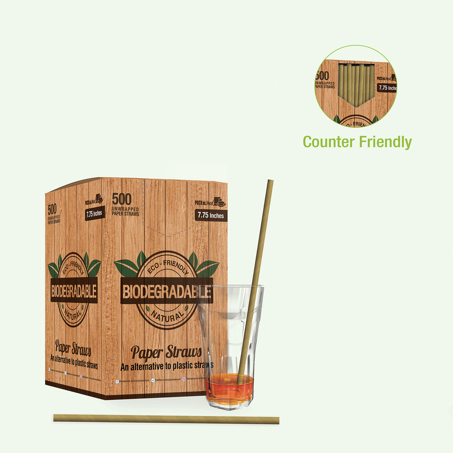 Solid Kraft Paper Straws Coated with Bees Wax - Unwrapped  7.75""