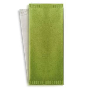 "Green cutlery paper bag with white napkin - 4.3"" x 10"""