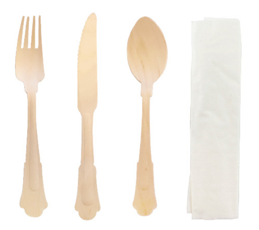 Elegant Wooden Cutlery Kit