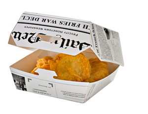 Newspaper Print Mini Slider Box - 4oz 3.3 x 3.3 x 2""