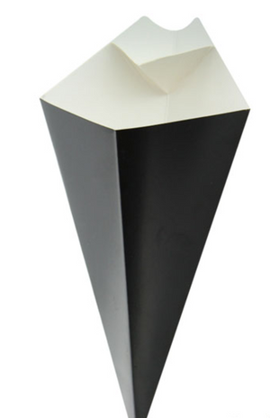 Black Paper Cones with Built in Dipping Sauce Compartment 11 x 6.5""