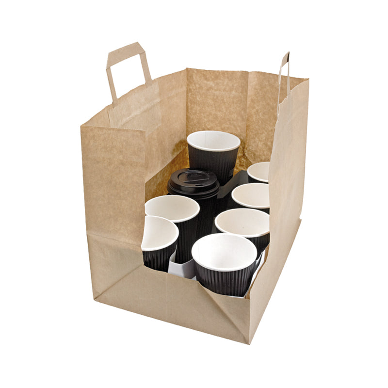 "Kraft/Brown Paper Carrier Bag - H: 9.8"" W: 7.9"" L: 12.6"""