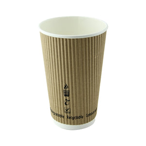 "Compostable Rippled Beige Cups - 16 oz Dia: 3.5"" H: 5.4"""