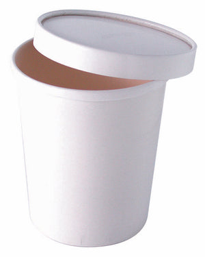 "White Paper Soup Container - 20 oz Dia: 3.75"" H: 4.4"""